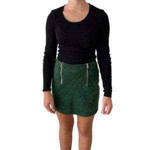Forever21 Olive Green Zippered Pencil Mini Skirt